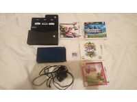 New Nintendo 3DS XL Metallic Blue with 5 games, case and charger