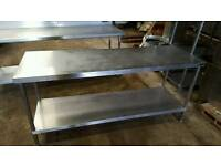 Stainless steel table.