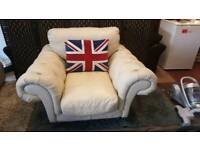 Cream leather modern chesterfield armchair. Delivery available