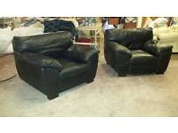 2 black leather armchairs