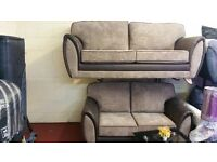 1 OFF DEAL 3+2 HAND MADE SOFA IN JUMBO BRICK CORD MINK WITH BODY IN SNAKE BROWN £359
