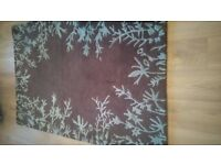 High Quality Woollen Rug - Attractive duck egg blue/rich chocolate brown