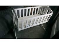 Bright White Swinging Crib