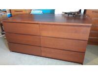 Free IKEA Wide 6 Drawer Unit (Dark Wood Veneer)