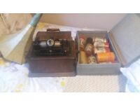 Phonograph with horn and reels plays well and in good condition