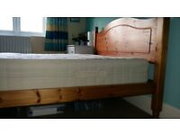 Solid pine double bed frame with quality 'Dreams' mattress