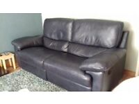 Navy Italian Leather 2 and a half recliner seater settee and one chair
