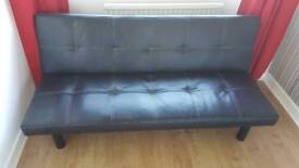 Black faux leather effect Clic Clac sofa bed futon