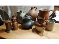 Assorted jugs, pewter tea pot and copper money box - price reduced