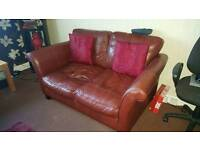 2x 2 seater leather couch