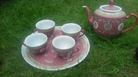 Chinese teapot and 4 cups and tray all china