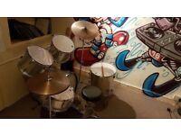 Full beginners drum kit, sticks and metronome for sale