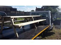 Huge 2.4 meter pub style picnic benches.