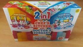 Kids 2 in 1 chefs kitchen and doctor surgery play station