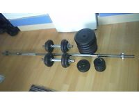 YORK, 50kg Black Cast Iron Barbell and Dumbbell Weight Set for sale