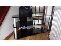 Television stand chrome and dark glass excellent condition like new