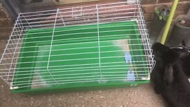 Large green indoor rabbit cage