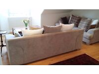 BEAUTIFUL PAIR 3/4 SEATER OXFORD BEIGE SPLIT BACK SOFAS - STERLING FURNITURE - VERY GOOD CONDITION