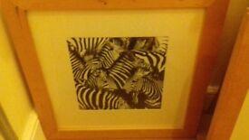 Framed ikea zebra print pictures wood framed