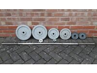 CAST IRON WEIGHTS SET WITH 5FT SOLID CHROME BARBELL