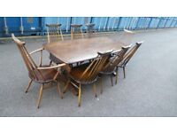8x Ercol Goldsmith Dining Chairs With Table Vintage Retro Elm ,Possible Delivery