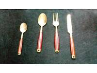 Beautiful bronze and rosewood cutlery set 6 of each