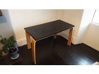 IKEA desk (beech legs, black top)