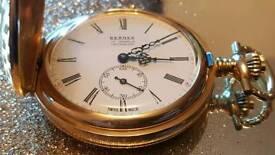 Bernex gold plated pocket watch SWISS MADE RRP: £550 Full hunter