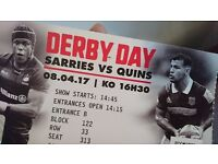 3 tickets Saracens v Harlequins at Wembley Saturday