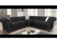 BRAND NEW chesterfield corner/ 3 & 2 FAUX LEATHER & FABRIC CORNER SOFA , NOW AVAILABLE