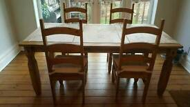 Mexican Corona Pine Dining Table and Chairs
