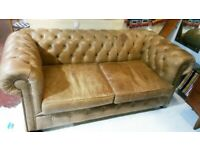 HALO LEATHER TAN CHESTERFIELD SOFA