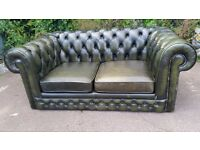 Used Green Leather Chesterfield 2 Seater Sofa, Dining Furniture