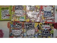 6 tom gates books + 2 diary of a wimpey kid book