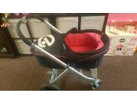 Oyster pink and black pram and seat