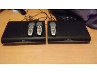 2 sky plus hd boxes with 3 remotes