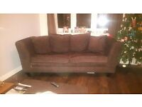 3seater & 2seater sofas-fabric, excellent condition, 18months old, moveable feet, smoke free home.