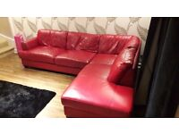 Red Leather Corner Sofa Excellent Condition