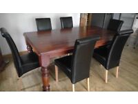 Solid Dark Wood 6ft Dining Table with 6 Chairs £500ono GREAT CONDITION