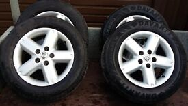 NISSAN X-TRAIL ALLOY WHEELS + TYRES, 215/65 x 16 . SET OF FOUR. ( 5 STUD ) + Steel Spare wheel