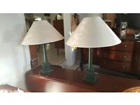 2 X Green Wooden Table lamp in Good Condition