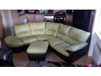 GREEN & BLACK leather corner sofa with FOOTSTOOL