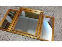 Vanity triple dressing table mirror wooden frame