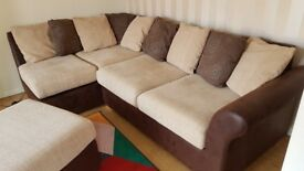Corner Sofa with Double Bed and Poof