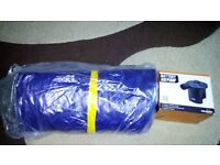 INFLATABLE DOUBLE FLOCKED AIR BED AIRBED MATTRESS CAMPING INDOOR OUTDOOR + Battery Pump + batteries