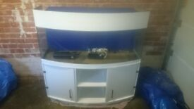 4 foot bow fronted aquarium and white stand