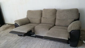 Brown Leather and Fabric 3 seater recliner Sofa SAMEDAY DELIVERY!!!