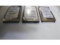 3 LAPTOPS & HARD DRIVES, 40GB, 80GB, 160GB