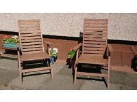 pair of garden /patio solid wood chairs
