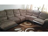 6 seater corner fabric and leather sofa